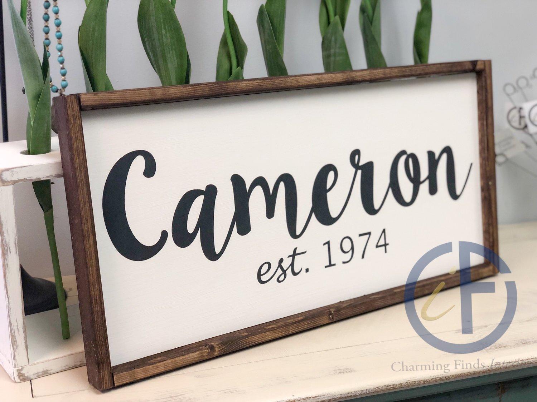 12x24 Framed Established Sign