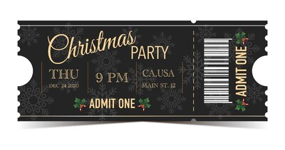 Christmas Party Tickets - Black