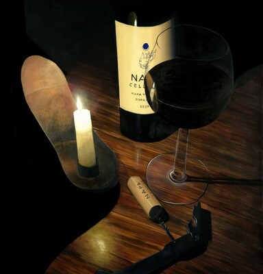 Wine Bottle & Candle  - Print