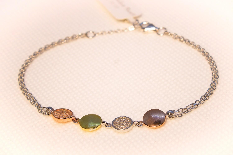 Bracciale in argento tondi tre colori e zirconi