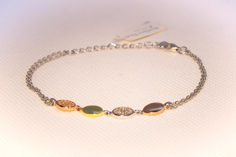 Bracciale in argento ovali tre colori e zirconi
