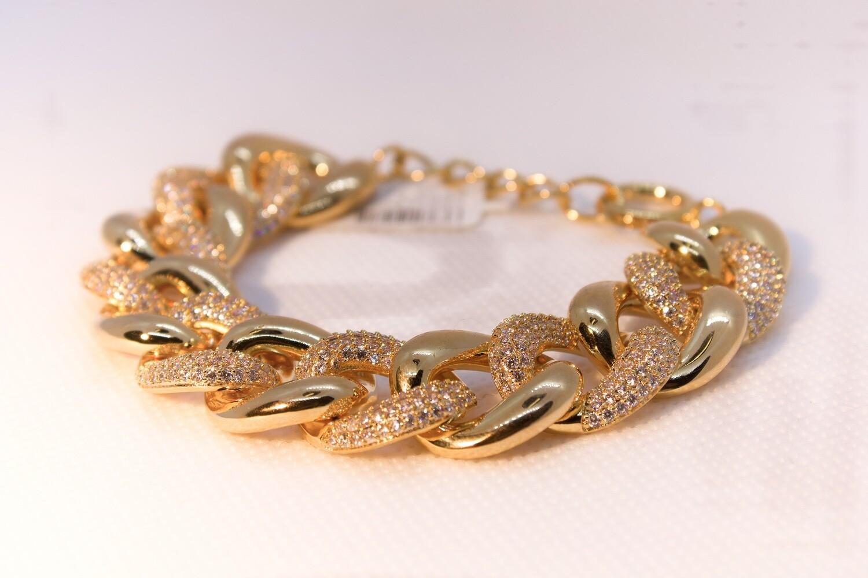 Bracciale groumette dorato con zirconi