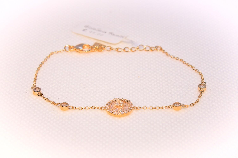 Bracciale in argento dorato con bouquet di zirconi