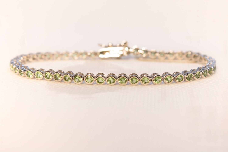 Bracciale tennis verde in argento