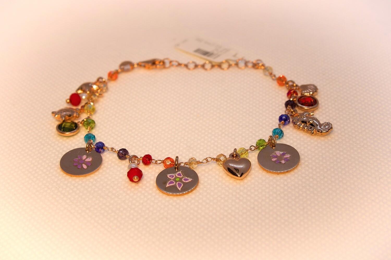 Bracciale in argento rosè con charms e cristalli rainbow