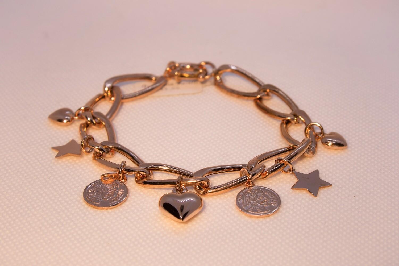Bracciale a catena in argento rosè con charms