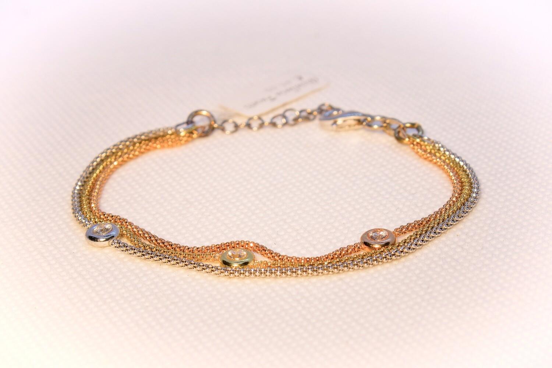 Bracciale in argento tre colori con zirconi