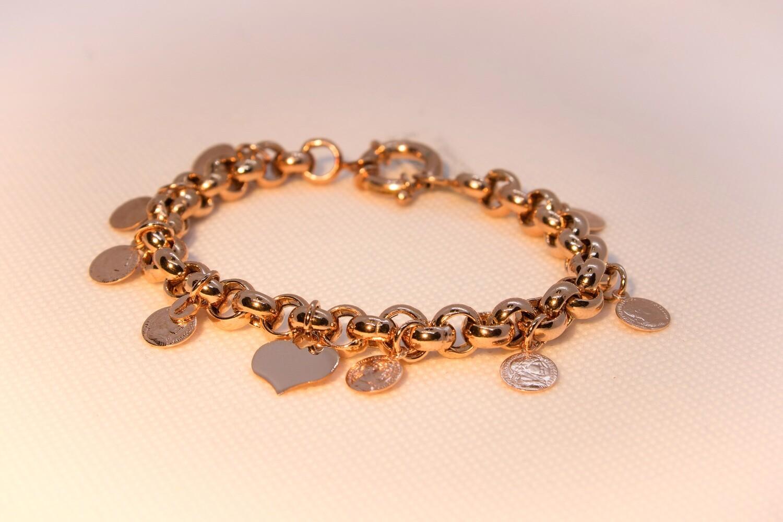 Bracciale in argento rosè con charms