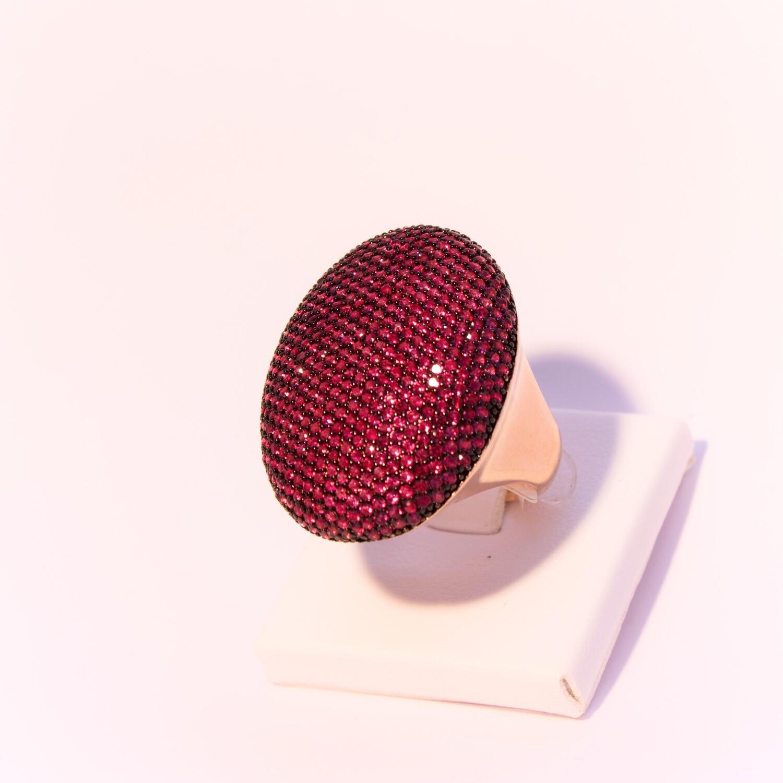 Anello rosè ovale con zirconi fucsia