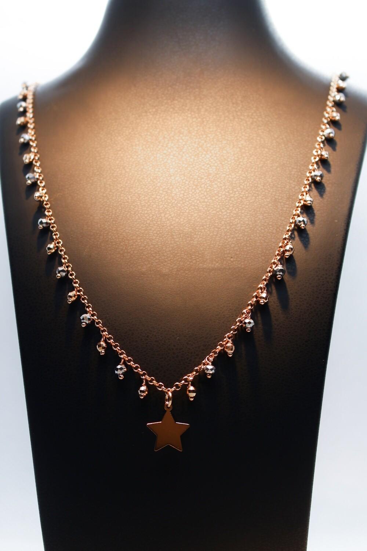 Collana lunga in argento rosè con stella e tormaline