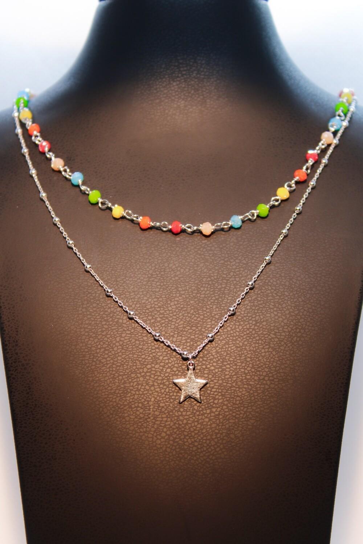 Collana doppia in argento con stella e cristalli rainbow