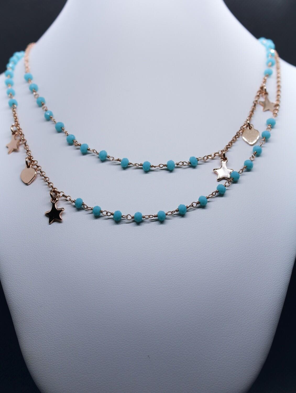 Collana doppia in argento rosè con turchesi e charms