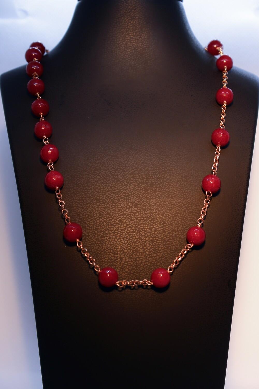 Collana in argento rosè con granati