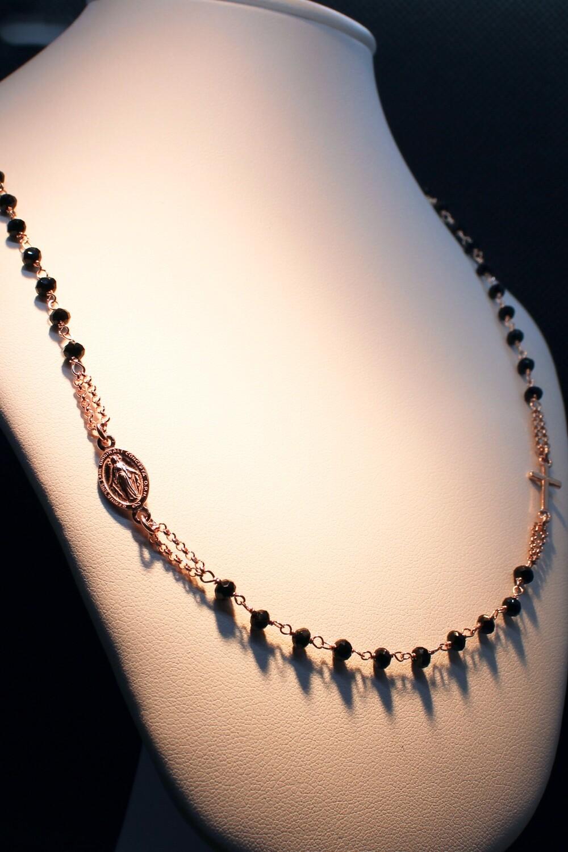 Rosario in argento rosè con zirconi neri