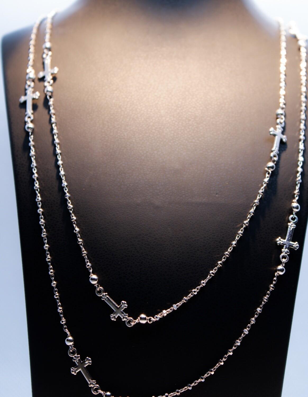 Collana rosario doppio in argento
