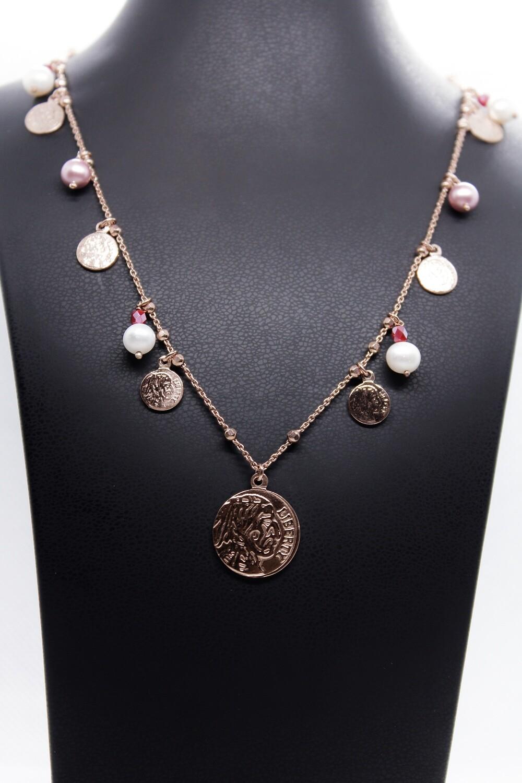 Collana lunga in argento rosè con tormaline, perle e monete