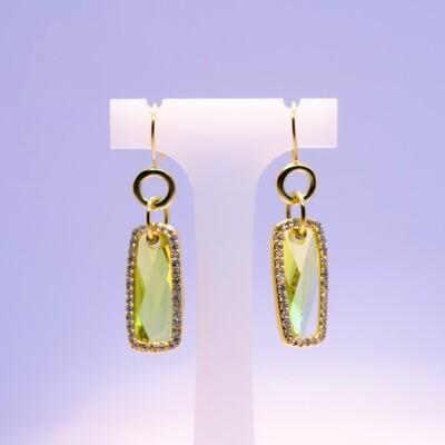 Orecchini pendenti in argento dorato con zirconi e cristallo citrino