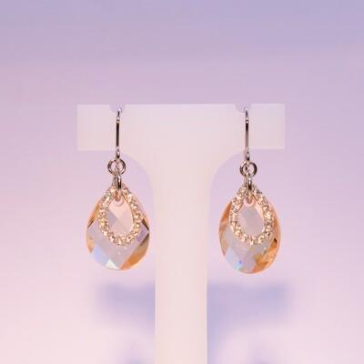 Orecchini pendenti in argento con zirconi e cristallo orange