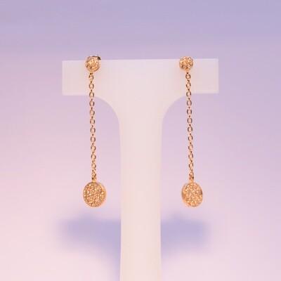 Orecchini pendenti in argento dorato con pavè grande e piccolo in zirconi bianchi