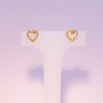 Orecchini a cuore in argento dorato e zirconi