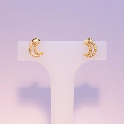 Orecchini a mezzaluna in argento dorato e zirconi