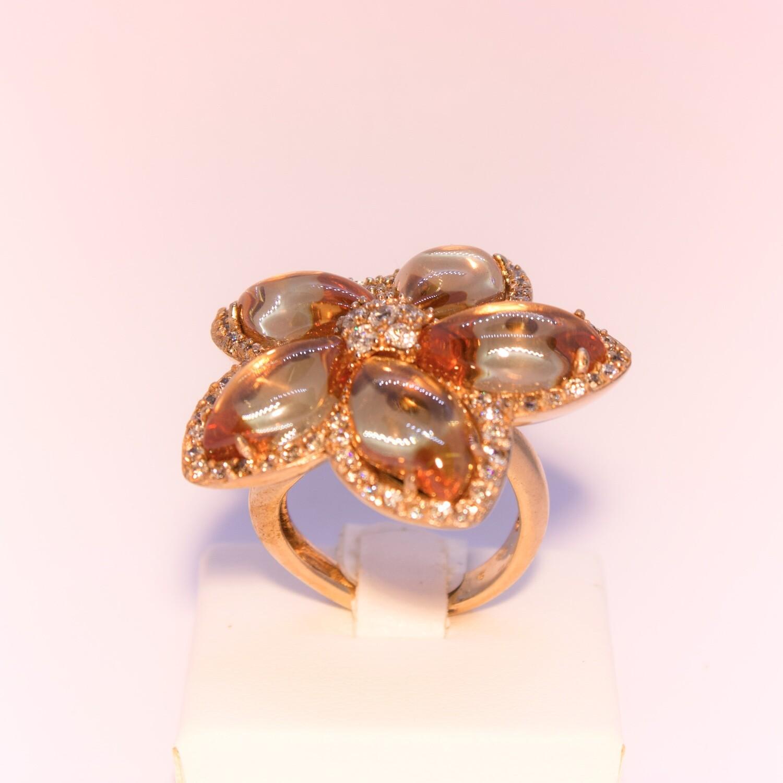 Anello grande in argento rosè a fiore champagne