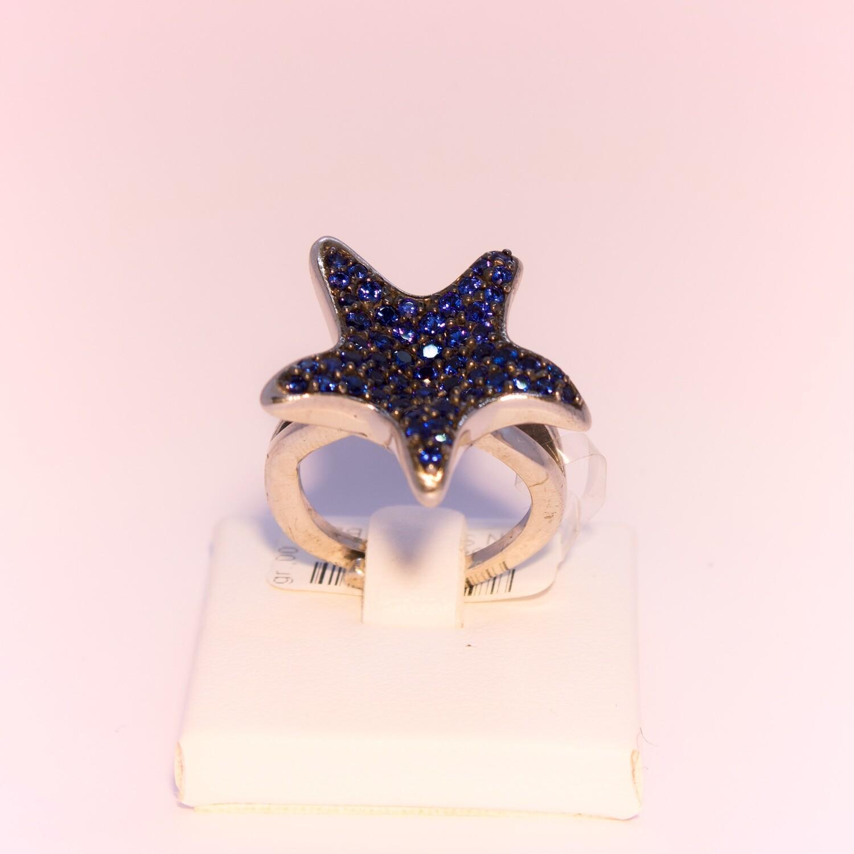 Anello grande in argento con stella blu