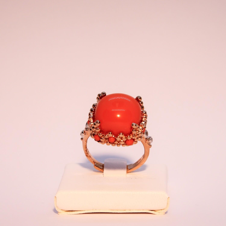 Anello grande in argento rosè con corallo e zirconi