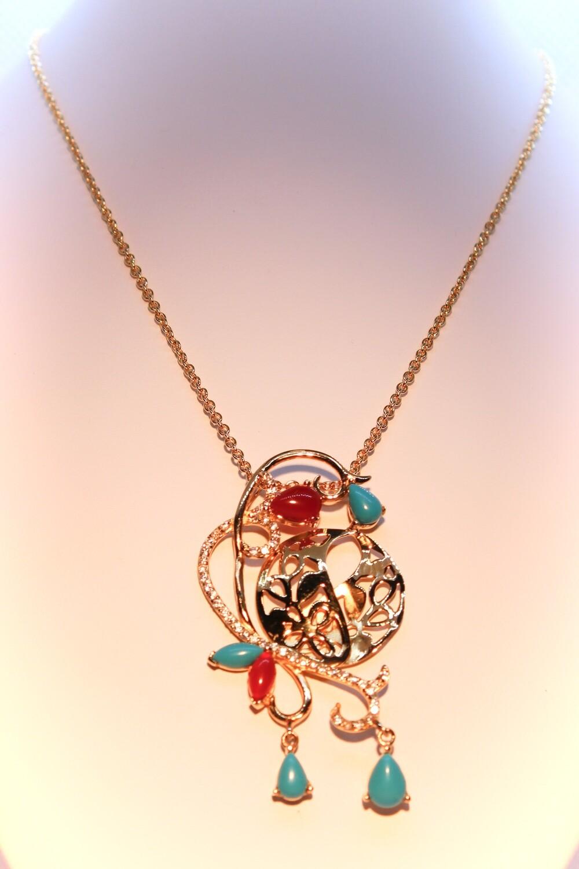Collana in argento dorato con corniola, turchese e zirconi