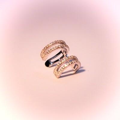 Ear cuff in argento con zirconi
