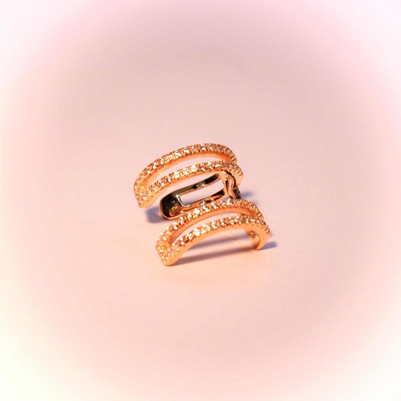 Ear cuff in argento dorato con zirconi