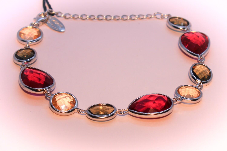 Bracciale in argento con cristalli colorati