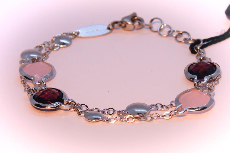 Bracciale doppio in argento con ametiste e quarzi rosa