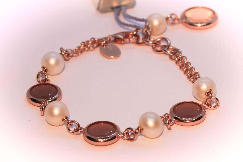 Bracciale in argento rosè con perle naturali e quarzi rosa