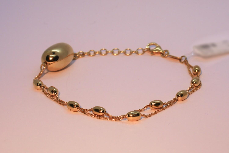 Bracciale doppio in argento dorato con boule