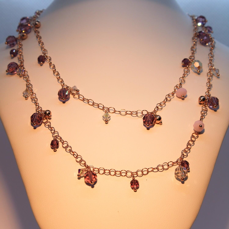 Collana in argento rosè con cristalli colorati