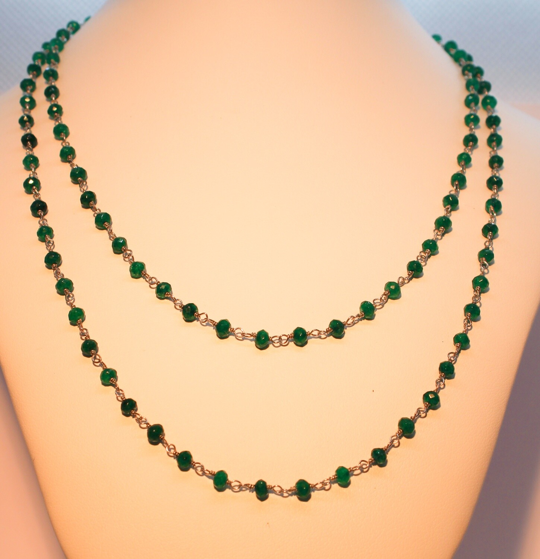 Collana in argento con cristalli verde smeraldo
