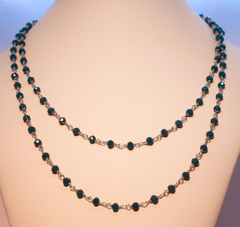Collana in argento con cristalli blu ottanio