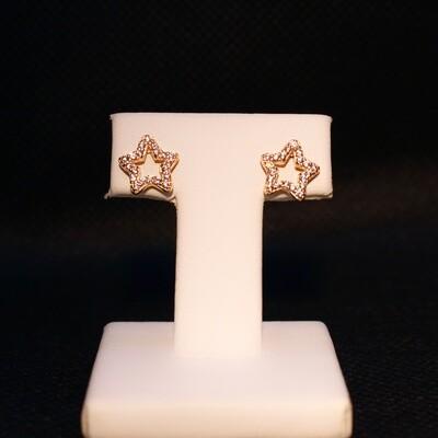 Orecchini a stella in argento dorato e zirconi