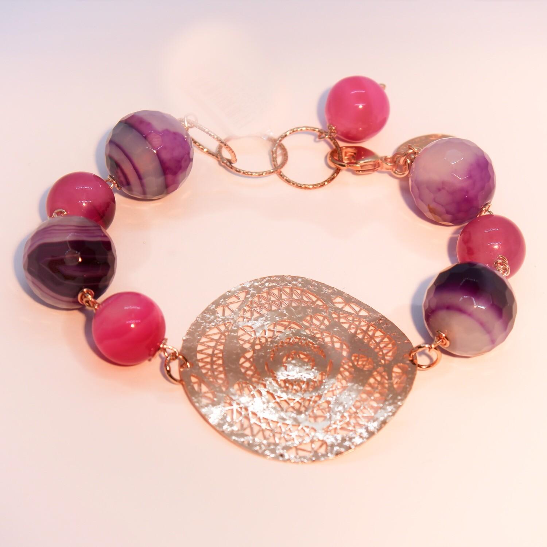 Bracciale in argento con pietre dure e rosone