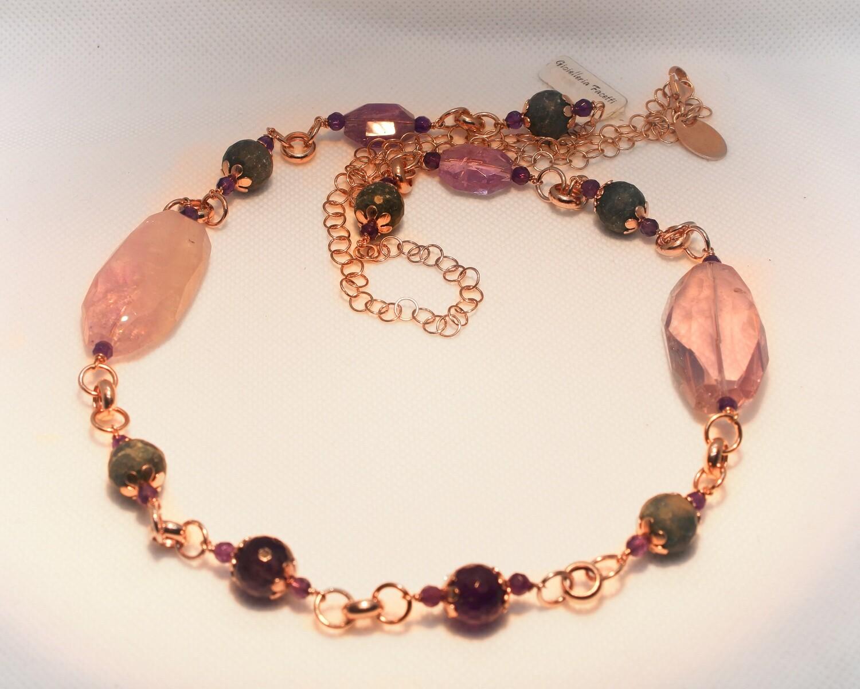 Collana in argento con ametista e quarzi rosa