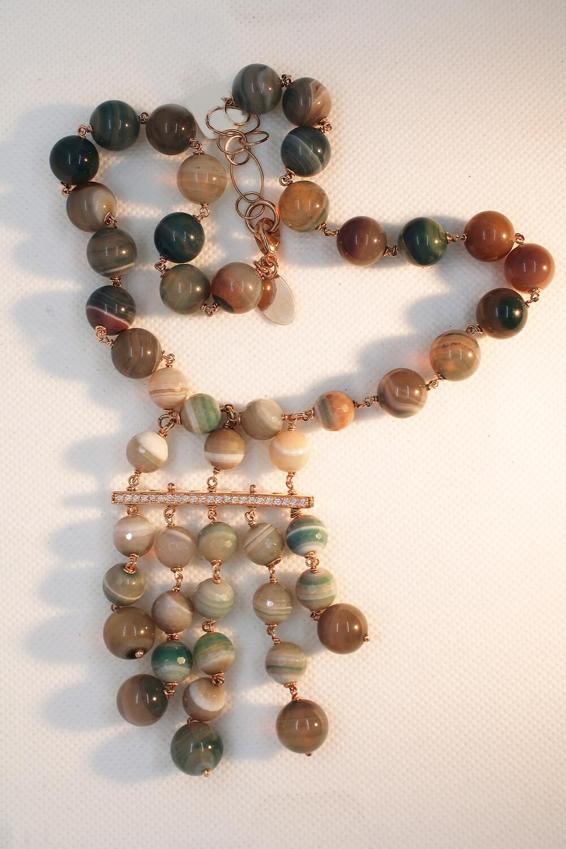 Collana in argento e pietre dure verdi