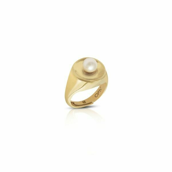Anello Ops Icon Pearl Gold