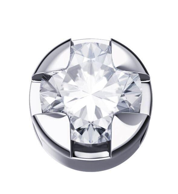 Elements Griffe Tonda Oro Bianco e Diamante