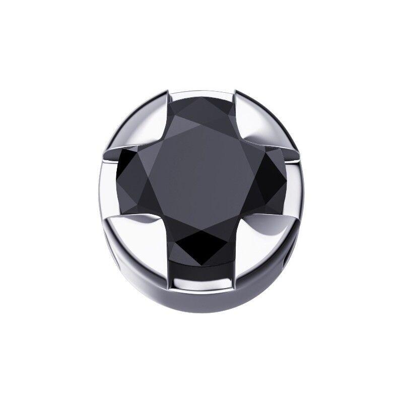 Elements Griffe Tonda Oro Bianco e Diamante Nero