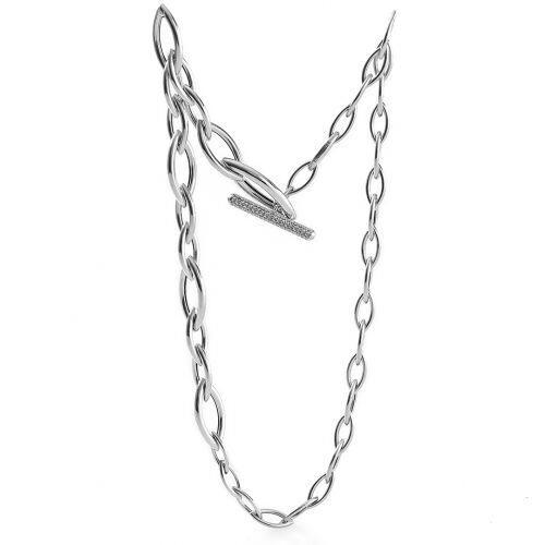 Collana UNOAERRE Premium Navette in argento bianco