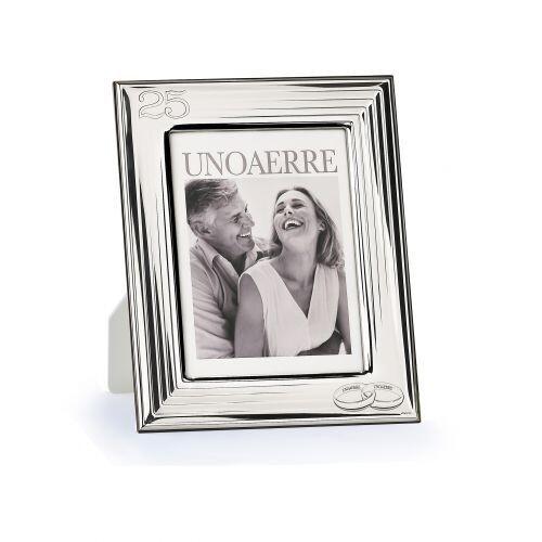 Cornice UNOAERRE portafoto in argento bianco 25° anniversario piccola