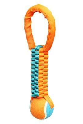 Chomper Tennis Ball Tug Dog Toy - Orange