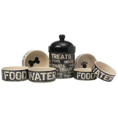 PetRageous Designs Vintage Stoneware Dog Bowl, Food
