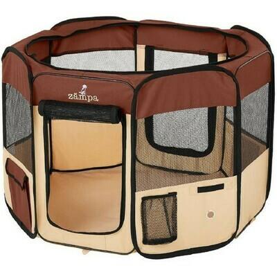 Folding Indoor And Outdoor Pet Playpen - Brown